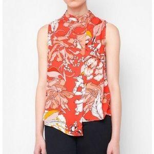 minkpink blossom floral red orange blouse L